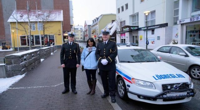 Standing with some of the friendly police officers of the Icelandic police department in Reykjavik.